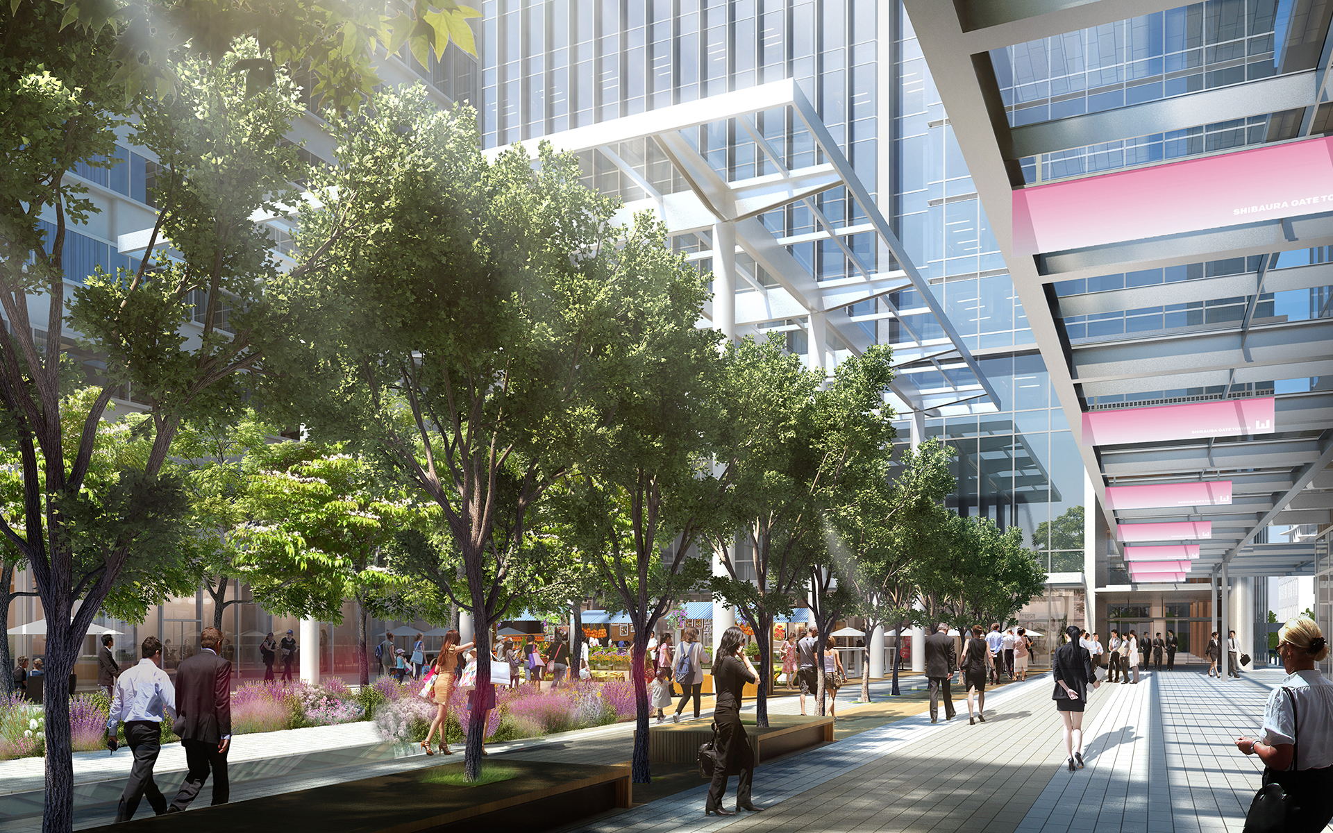 CG rendering of the front yard of the completed Office Towers
