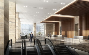 thumbnail image of CG rendering of the completed office lobby