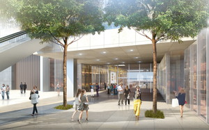 thumbnail image of CG rendering of the completed commercial zone on 1F