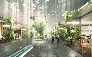 thumbnail image of CG rendering of the completed commercial zone