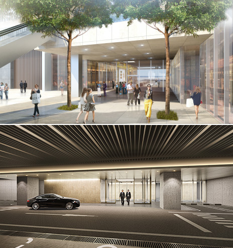 CG rendering of the completed commercial zone on 1F and the completed carriage porch on B1F