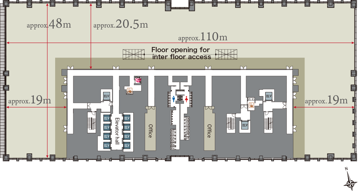 Floor plan otemachi park building mitsubishi estate for Typical office floor plan